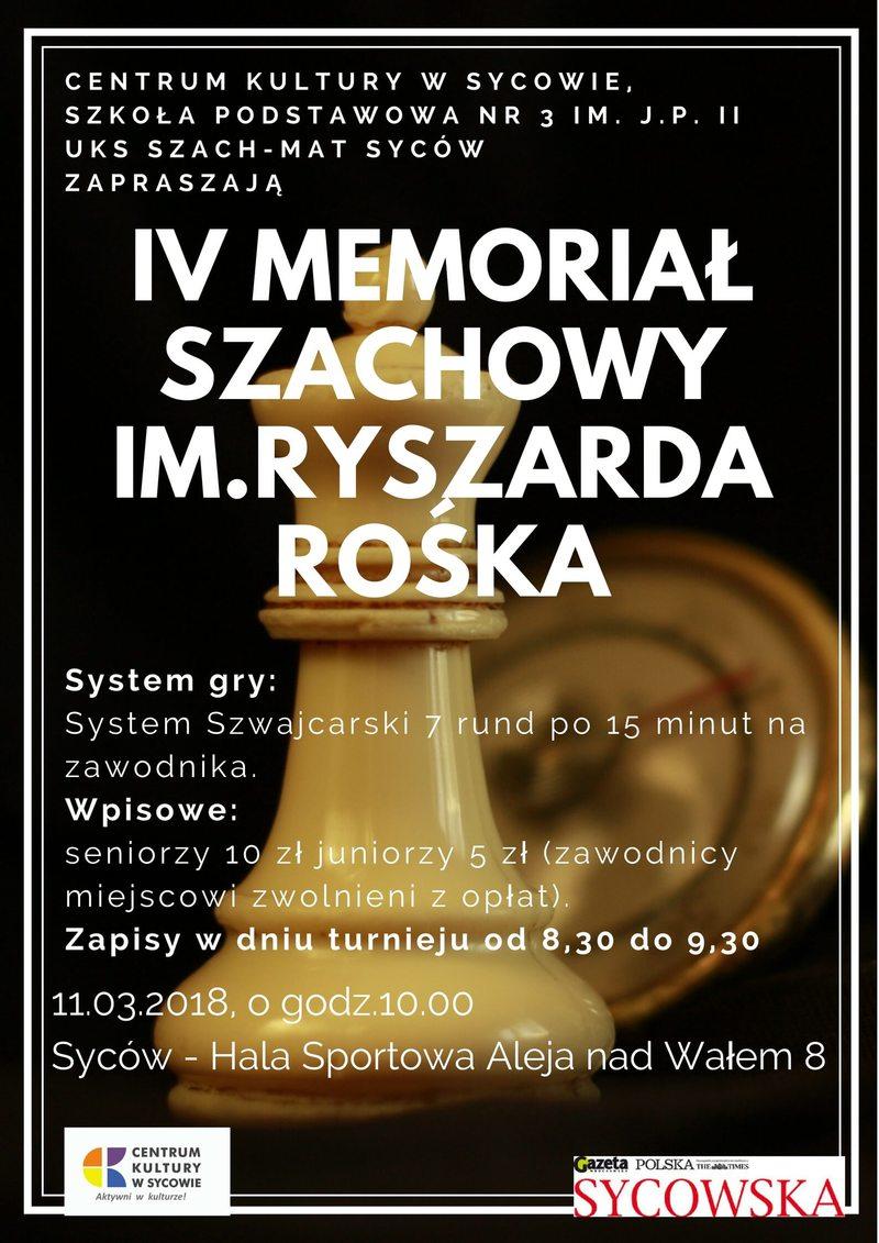 IV Memoriał Szachowy im. Ryszarda Rośka